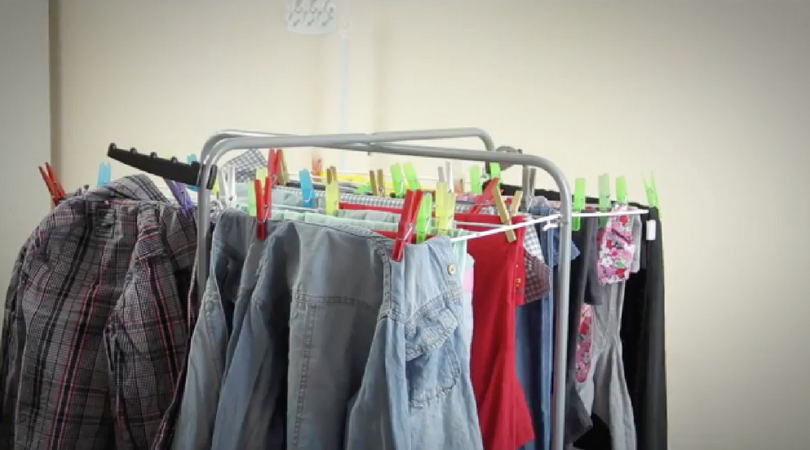 hang laundry indoors
